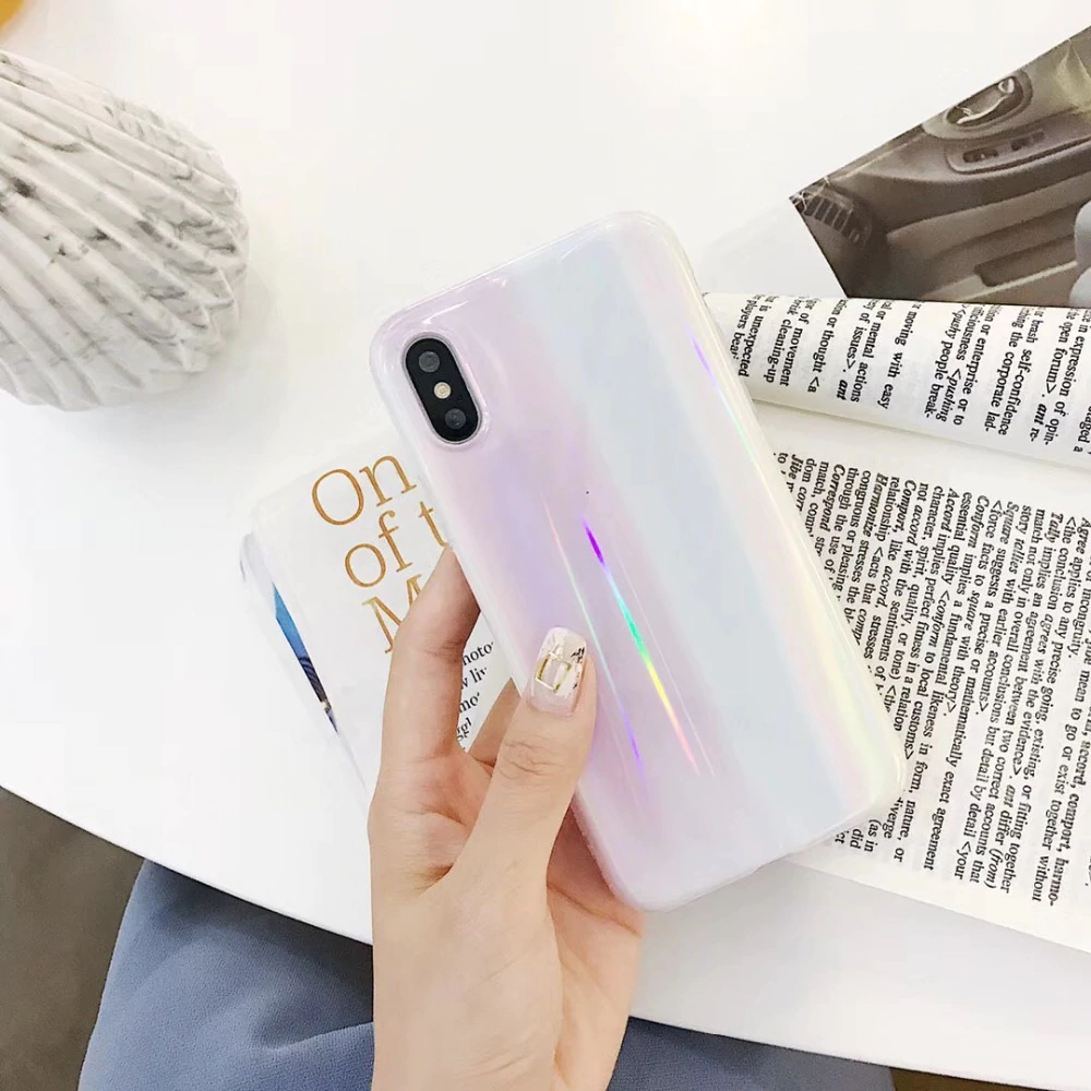Glossy Aurora Laser Marble Case for iPhone X XS Max 6 6s 7 8 7 Plus Colorful Shiny Laser Painted Marble Effect Soft Silicon Back Cover Case For iPhone