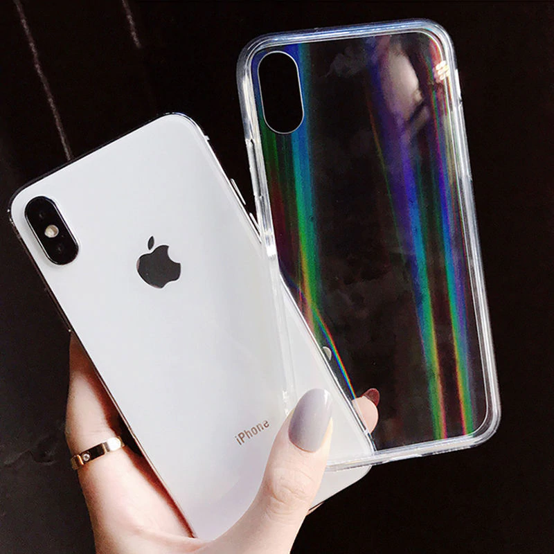 Glossy Crystal Aurora Laser Transparent Phone Case for iPhone X XS XR XS Max 6 6S 7 8 Plus Soft Silicone Case Clear Back Cover For iPhone