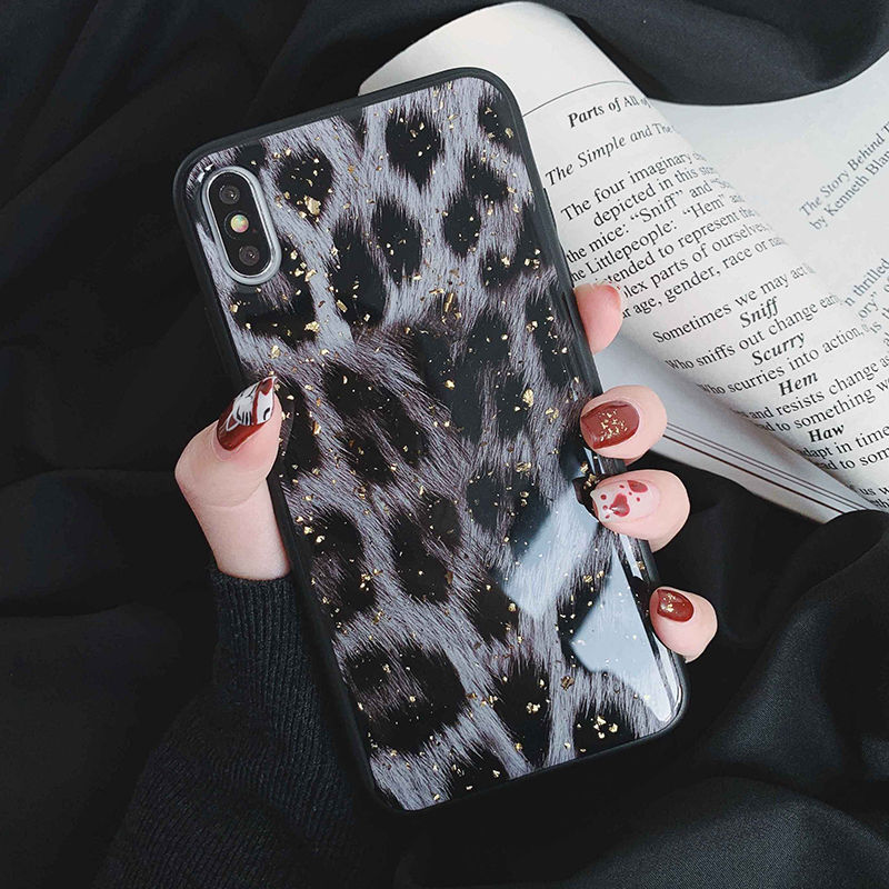 Glossy Dark Leopard Print Phone Case For iPhone XS Max XR XS X 6 6S 7 8 Plus Shiny Soft TPU With Golden Leaf Foil Back Cover Case For iPhone
