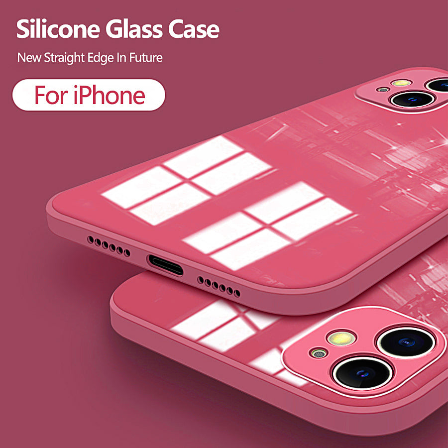 Glossy Silicon Glass Case For iPhone 12 Pro Case Max Cover For iPhone 11 Max XS X MAX XR 7 8 Plus SE Straight Edge Phone Case With Built In Camera Protection