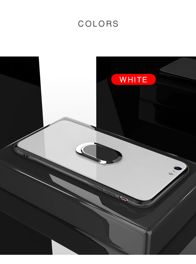Glossy Tempered Glass Case for iPhone X XR XS MAX and iPhone 7 8 6 6S Plus With Finger Ring Stand and Magnetic Disc For Dash Car Holder