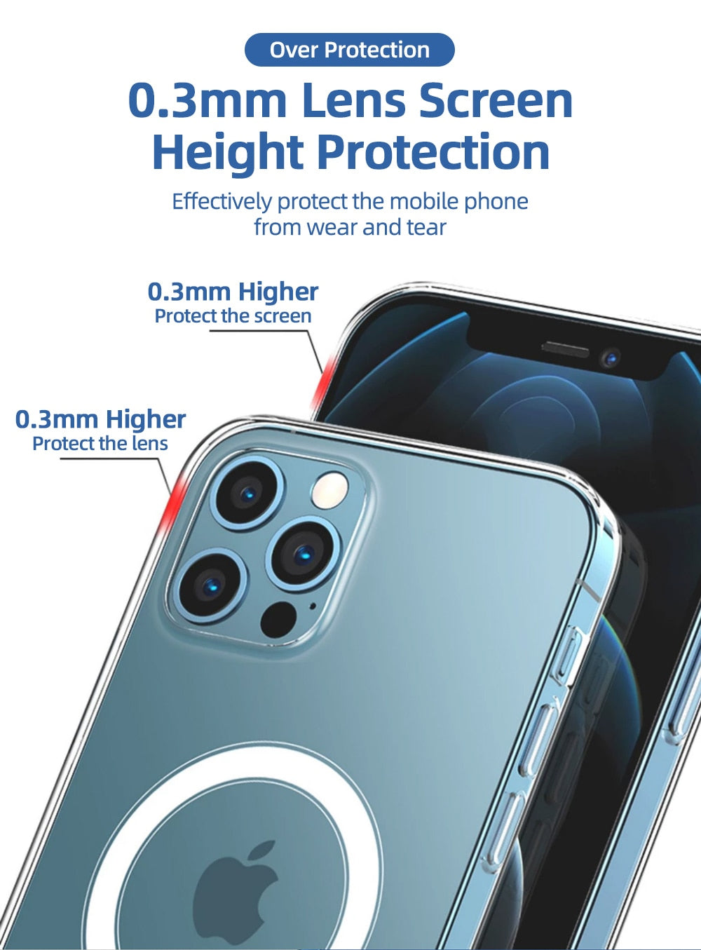 Glossy Transparent Shockproof Magnetic Case For iPhone 12 Pro Max 12 Mini Case For MagSafe Wireless Charging Full Protection PC+TPU Clear Case For iPhone