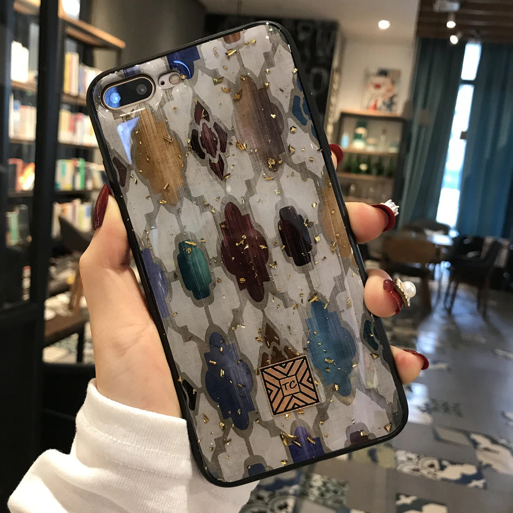 Gold Foil Lucky Tree Ornate Bling Phone Case For iPhone 8 7 6 6s Plus Soft TPU Glitter Cover Fitted Exotic Patterned Case For iPhone X XS Max XR