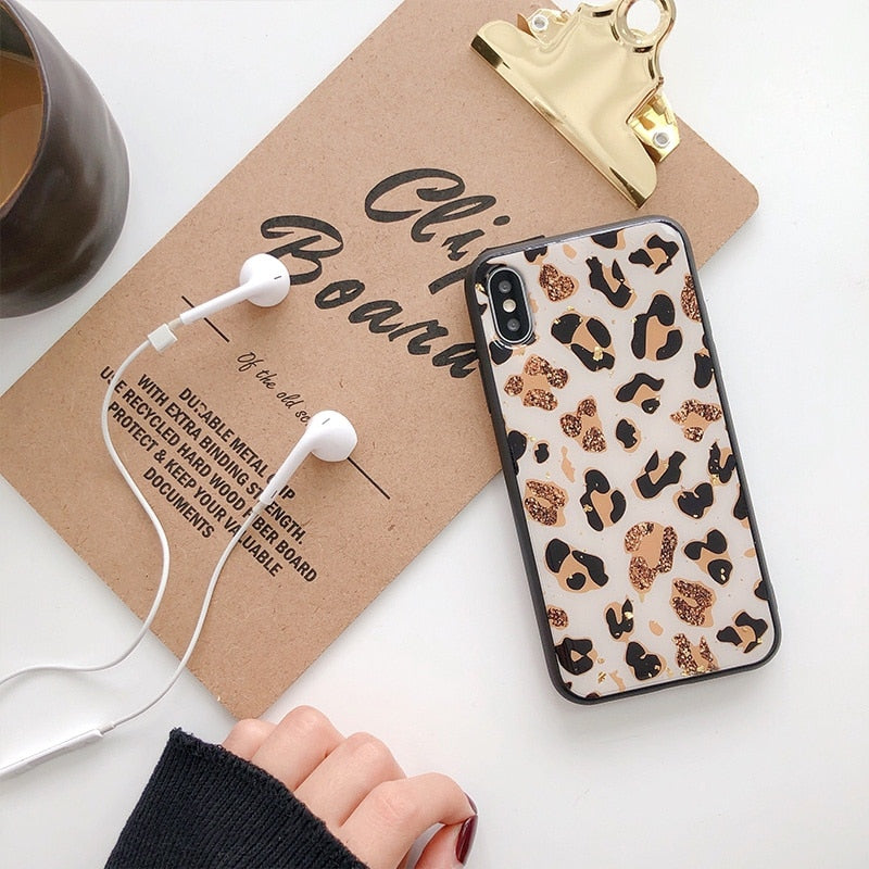 Gold Glitter Retro Leopard Spots Fashion Bling iPhone Case For iPhone X XS Max XR Soft TPU Fitted Cover For iPhone 7 8 6 6s Plus Case For iPhone
