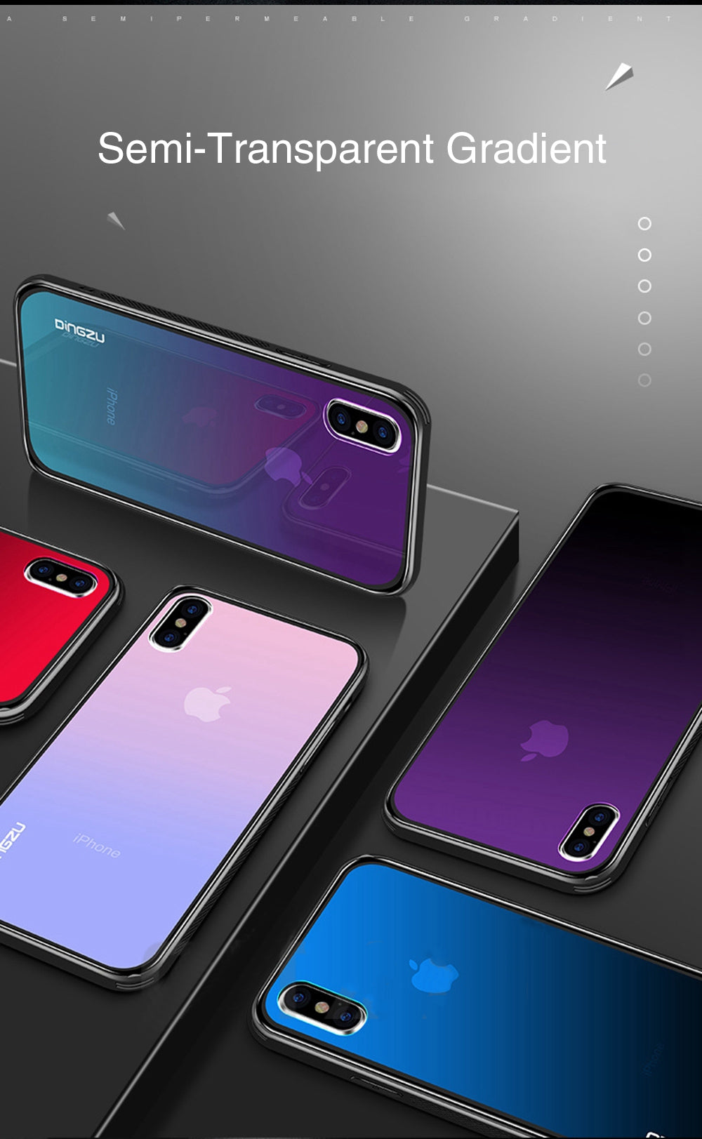 HD Gradient Tempered Glass Phone Case For iPhone XR XS MAX X 8 7 6 6S Plus Hard Shell Protective Soft TPU Bumper Cover Fitted Case For iPhone
