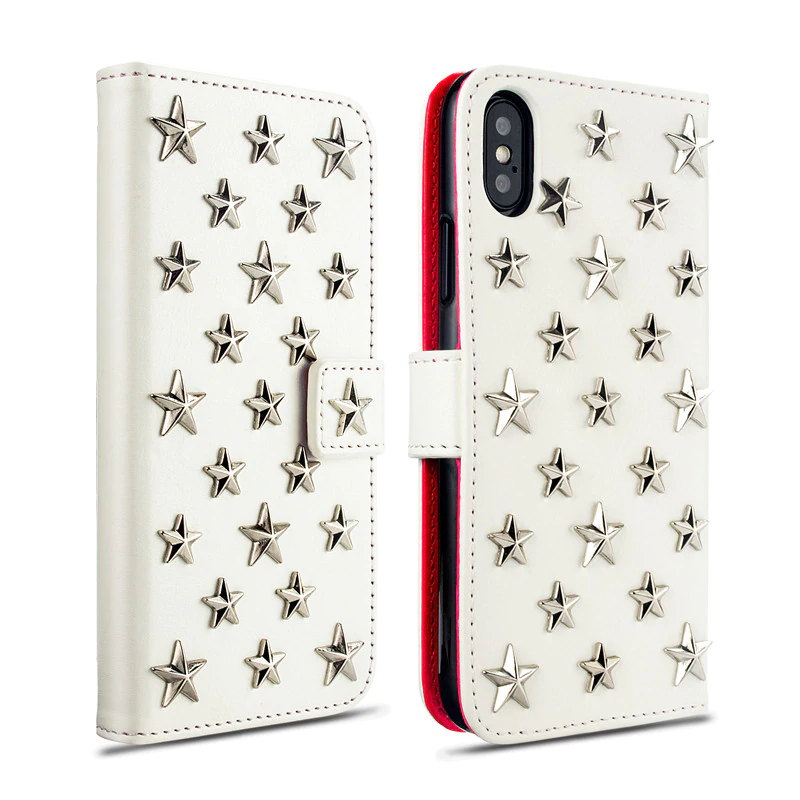 Handmade Luxury Starry Case Leather Case For iPhone 11 XS MAX XR X 87 Plus Rivet Stars Flip Case Card Holder Wallet Cover For iPhone
