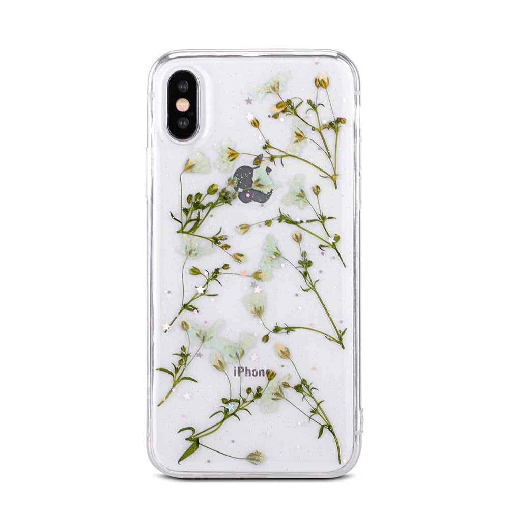 separation shoes 57950 7b69d Handmade Pretty Floral iPhone Cases For iPhone X XS Max XR 6 6S 7 8 Plus  Case Fresh Flower Clear Case Soft Back Cover For iPhone Real Dried Flowers