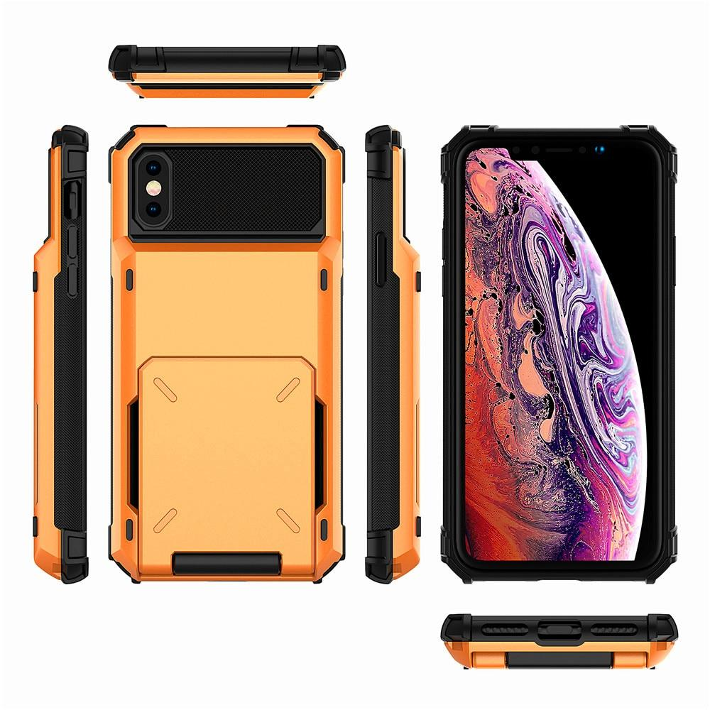 Heavy Duty Hybrid Armor Flip Phone Case With Card Holder Compartment For Up To  5 Cards For iPhone X XS MAX XR 7 8 7+ 6 6S X 10 Cover For iPhone