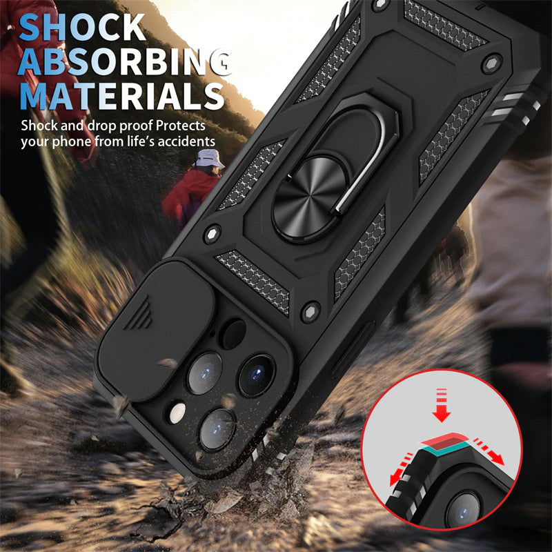 Heavy Duty Protection Armor Phone Case For iPhone 13 12 11 XS Pro Max 6 7 8 Plus Case With Lens Slide Protection And Ring Stand Holder