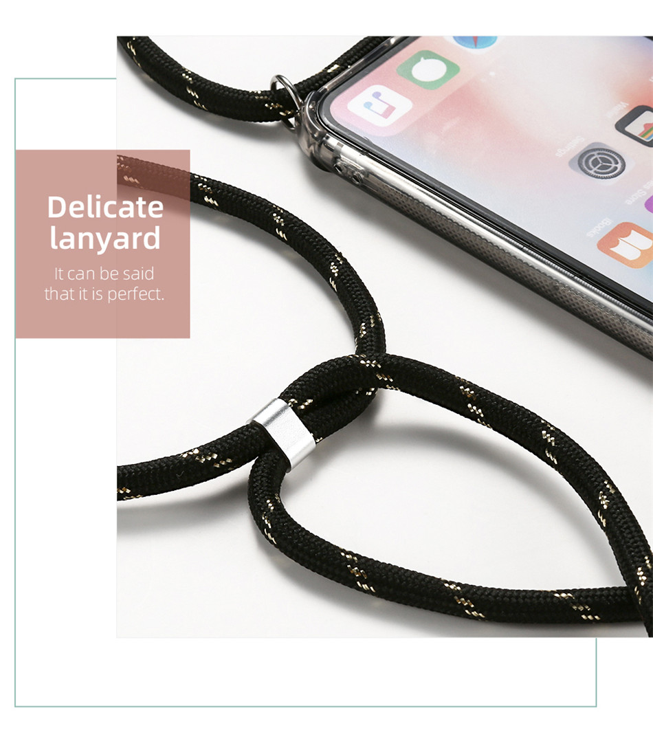 ID Cardholder Phone Case With Lanyard ID Clear Case For iPhone 11 Pro XS MAX X XR 8 7 6S Plus Credit Card Slot Holder Necklace Rope Lanyard Case