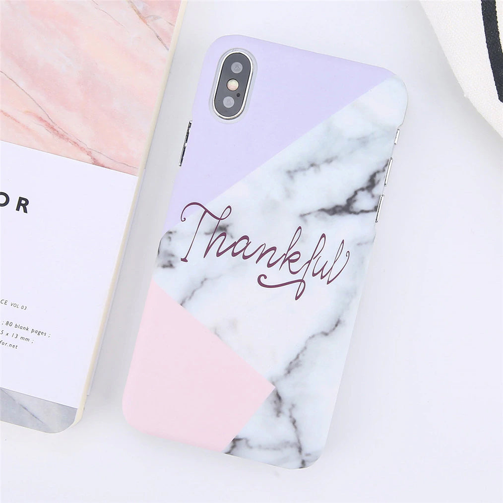 Inspirational Words on Marble Effect iPhone Case For iPhone XS Max XR X 8 7 Plus Ultra Thin Matte Hard PC Case For iPhone 6 6S Plus