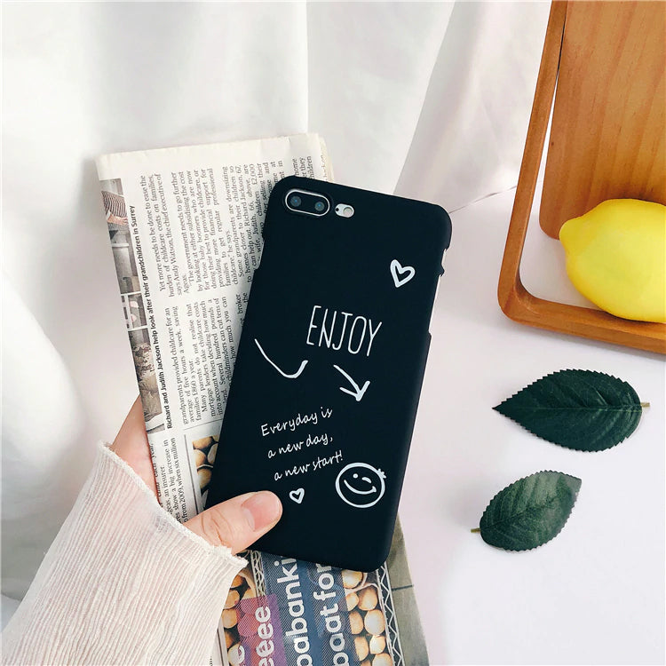 Inspiring Messages Couples Phone Case For iPhone X Case For iPhone 6 6S 7 8 Plus Hard PC Start Your Morning and Enjoy Every Day iPhone Cases