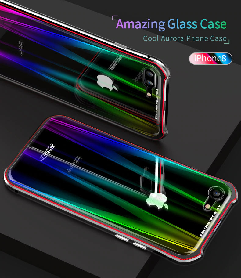 Laser Clear Colorful Aurora Glass Back Cover Metal Bumper Magnetic Case For iPhone X 8 7 Plus Magnet Case For iPhone 7 8 Rugged Case iPhone Case