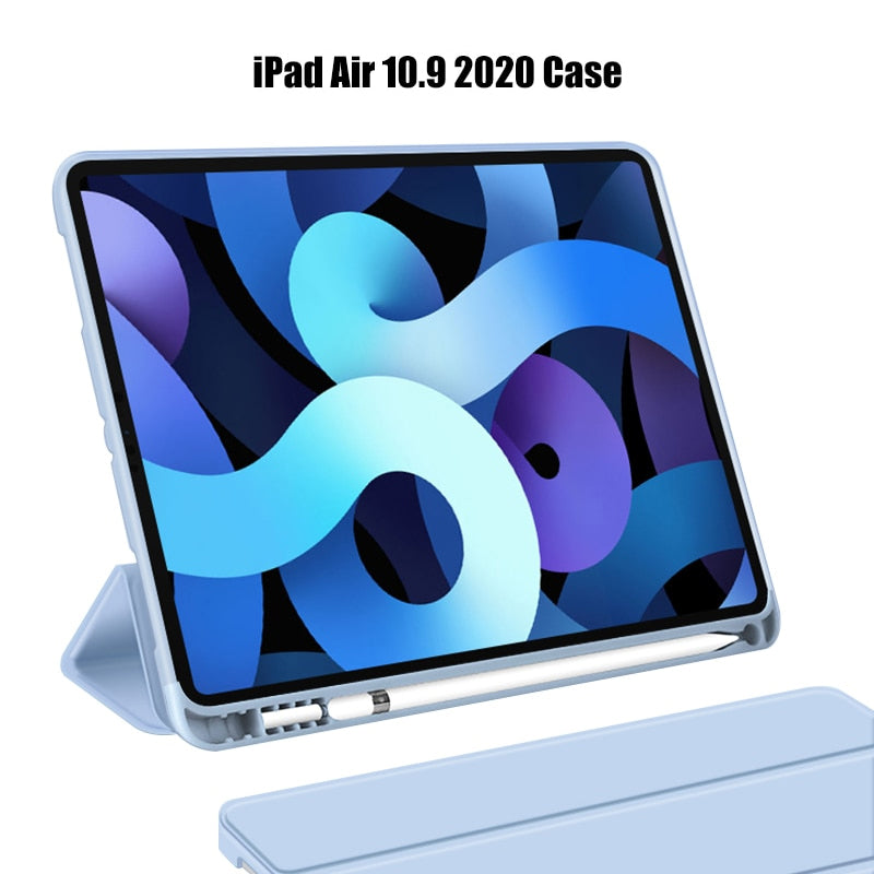 Latest iPad Case For iPad Air 10.9 2020 Drop Resistant Soft Silicone Tablet Case For iPad Air With Auto Sleep/Wake Function Smart Case With Pencil Holder