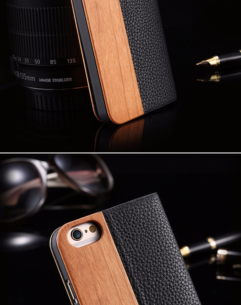 Leather Bound Wood Case For iPhone 8 7 6S Plus Cases Genuine Bamboo Wood Flip Leather Wallet Stand Case For iPhone 6 6s XS Max X 10