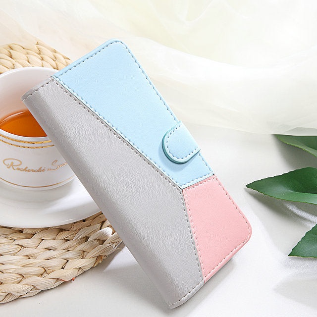 Cute Pastel Color Patchwork Fashion Soft PU Leather Phone Case for iPhone 8 Plus 8 7 6 6S Plus Case for iPhone 6 s 5 5s SE 2020 Flip Cover Card Holder Case