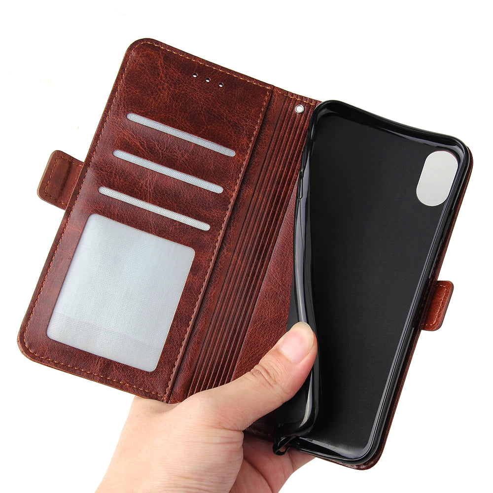 Leather Wallet Flip Cases For iPhone X 8 7 6S 6 Plus 5S SE Fashion Zipper Card Holder Wallet Cover for iPhone X XS XS Max XR Leather Phone Case