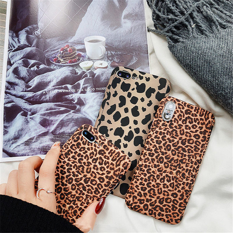 Leopard Print Cases for iPhone X XS Max XR 6 6S 7 8 Plus 5 5S Hard Matte Full Coverage Tempered Glass Protective Telefon Case Cover For iPhone