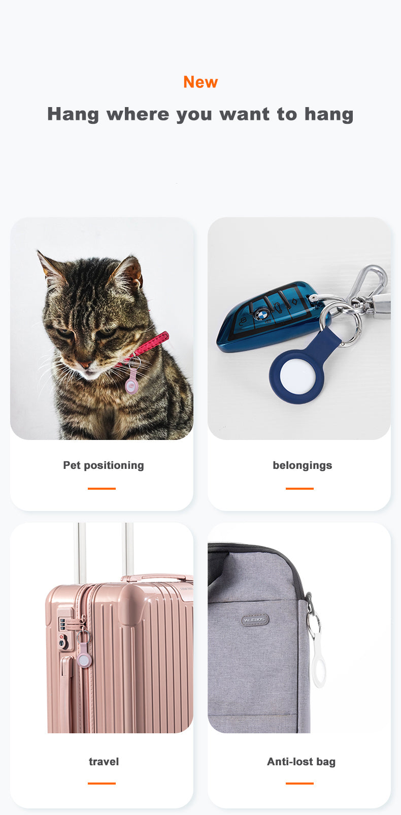 Lightweight Protective Case For Air Tags Liquid Silicone Hangable Keychain Cover For AirTags Locator Tracker Case