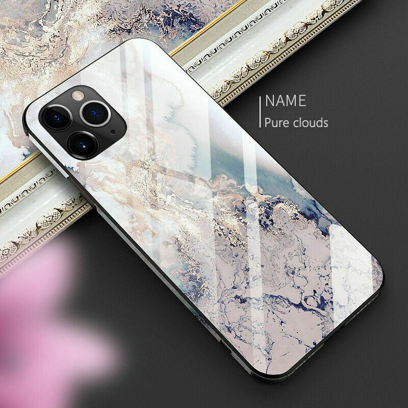 Luxurious Crystal Marble Tempered TPU Glass Case For iPhone 11 Pro Max X XR XS Max 8 7 6 6s plus Hard Back Full Protective Cover Half Wrapped Case for iPhone