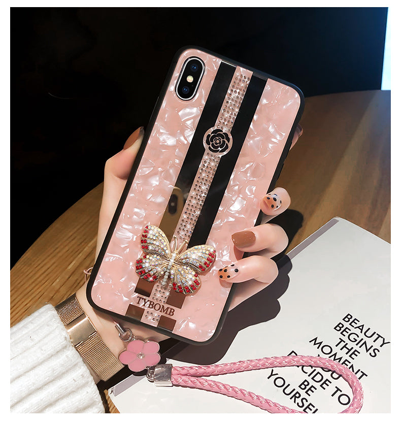 Luxurious Rhinestone Jewelled Butterfly Bling Phone Case For iPhone X XR XS MAX 11 Pro Max Cover For iPhone 7 8 6 Plus Case Mirrored Fashion Case For iPhone