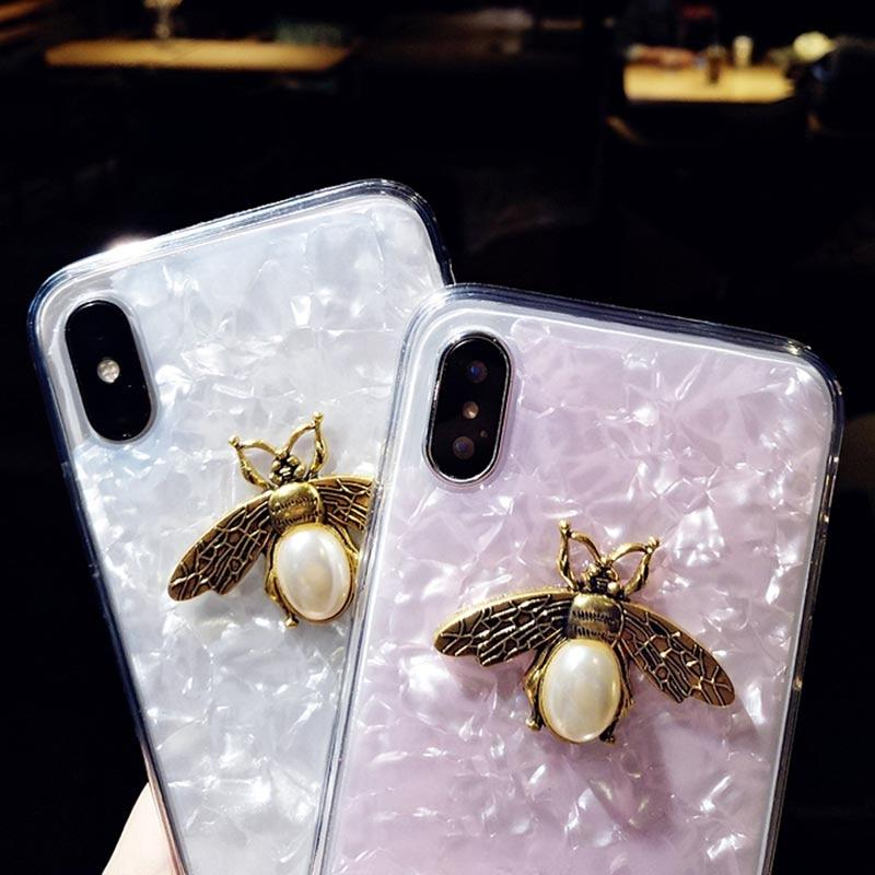 Luxury 3D Metal Bee Bling Dream Shell Glitter Case For iPhone 7 8 Plus X XR XS Max Phone Cover For iPhone 6 6s Plus Pearl Bee Phone Case