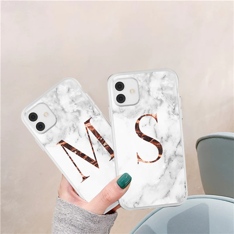 Luxury A-Z Letter Marble Print Nordic Fashion Case For iPhone 11 Pro Max 12 Pro X XR XS Max 8 7 Plus 12 Mini Shockproof Bumper Case For iPhone