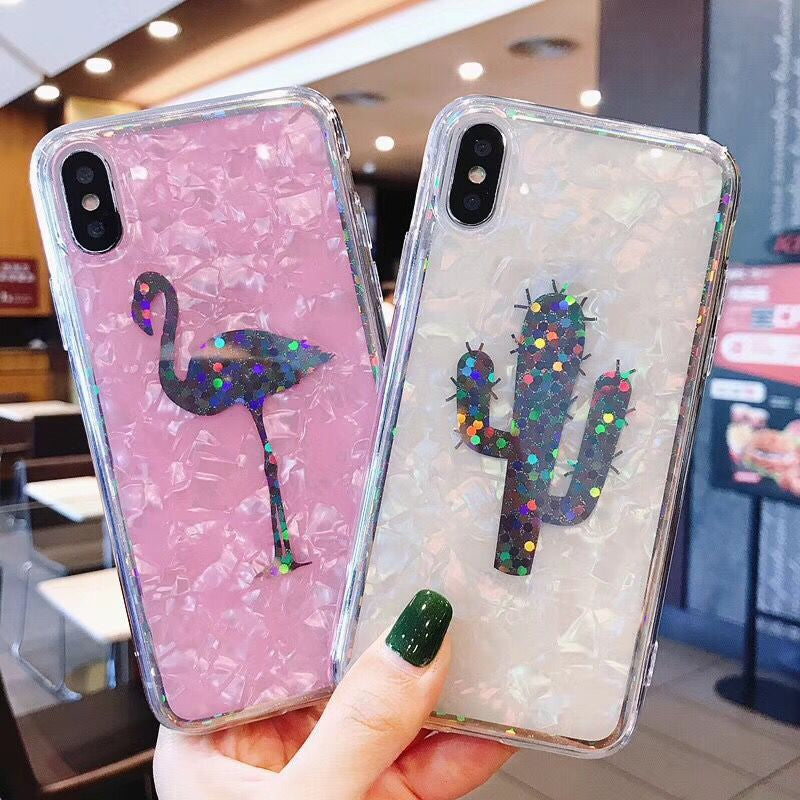 Luxury Abstract Opalescent Pineapple Flamingo Cactus Motif Soft Phone Case For iPhone X 6 6S 7 8 Plus Fashion Back Cover for iPhone