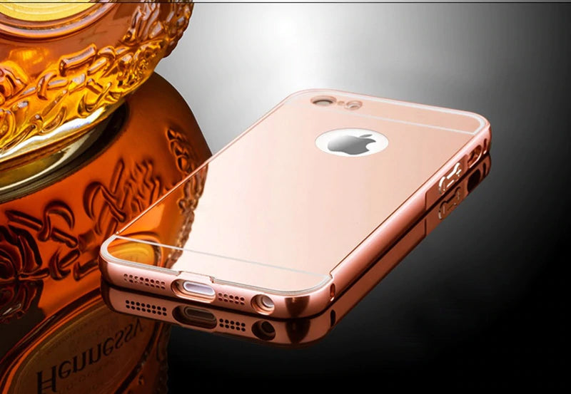 Luxury Aluminum Metal Frame Case For iPhone 5 5S SE Phone Case Deluxe Metallic Frame Mirrored Finish Shockproof Cover For iPhone 4 4S 5 5S Cases