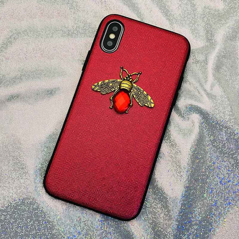 Luxury Bee Diamond Phone Case Soft Silicone Leather Rhinestones Cases For iPhone X XR XS Max 7 8 6 6S Plus