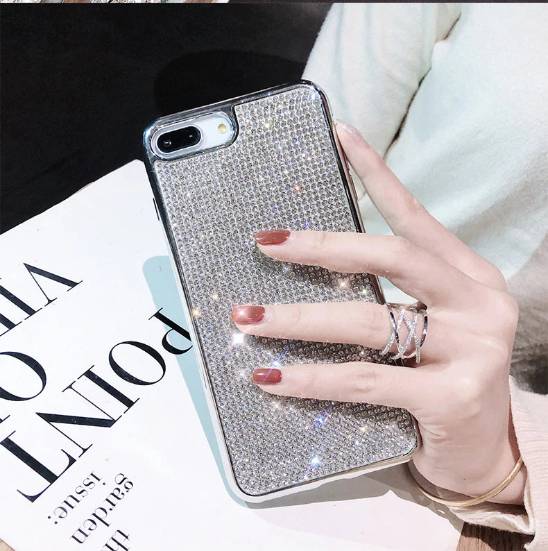 Luxury Bling Diamond Sexy Rhinestone Case For iPhone X XS Max XR 8 7 Plus Cases For iPhone X 6 6S 7 8 Plus Silver TPU Bumper Glitter Case
