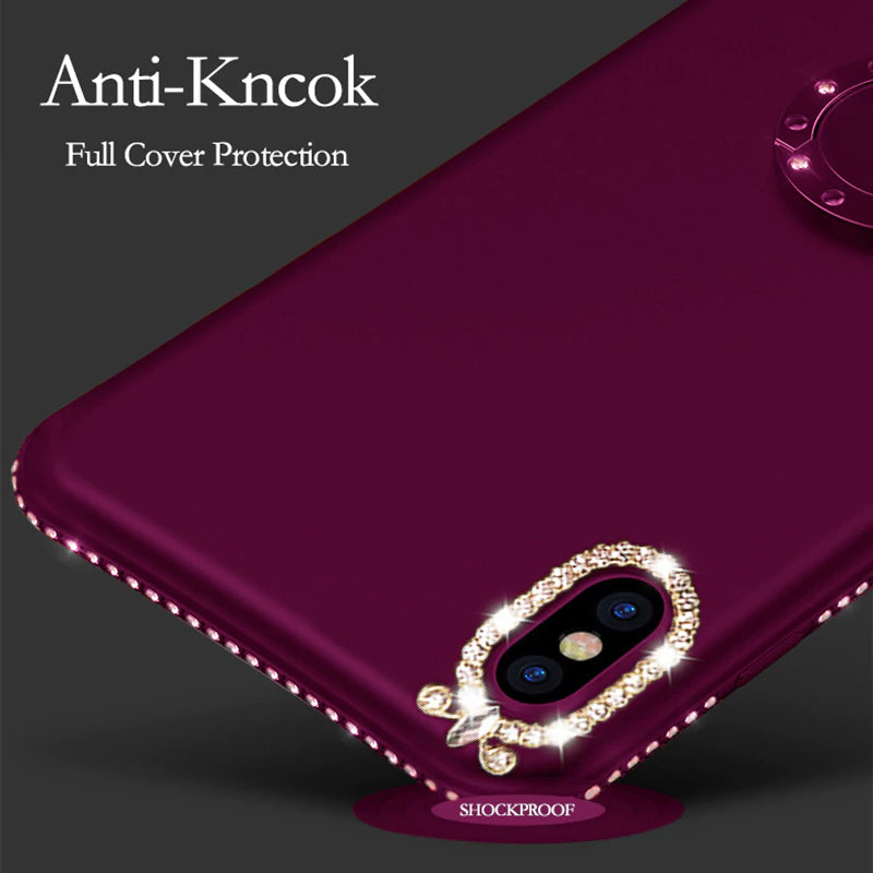Luxury Bling Fashion Shining Glitter Crystal Rhinestone Finger Ring Magnetic Kickstand Case For iPhone X 8 7 6 Plus Soft TPU Cover