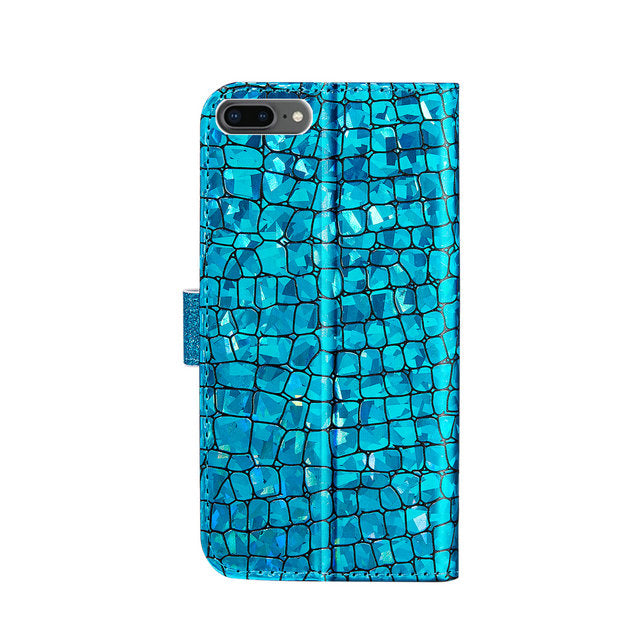 Luxury Bling Glitter Case for iPhone 11 Pro Max Case For iPhone SE 2 iPhone 12 2020 Xs Xr X 5 6 7 8 Soft PU Leather Case With Card Slots & Magnetic Clasp