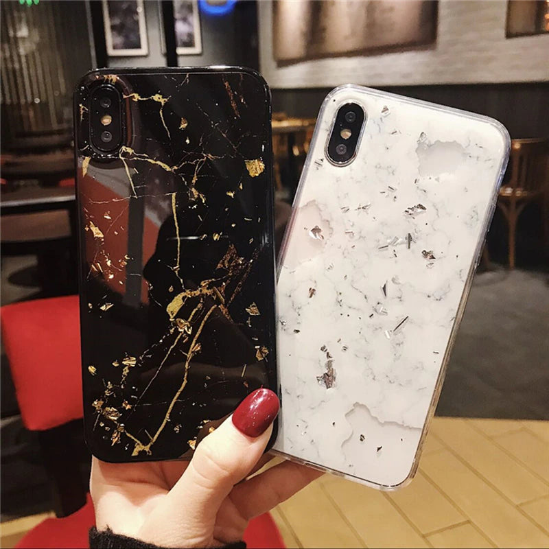 Luxury Bling Retro Vintage Deluxe Gold Foil Marble Glitter Phone Case For iPhone 11 6 6s 7 8 Plus X XR XS Max Soft TPU Case For iPhone 11 Pro Max