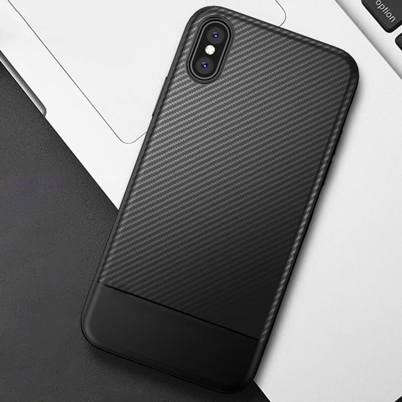 Luxury Carbon Fiber Case For iPhone X 8 7 Plus Shockproof Ultra Thin Fitted Case For iPhone 6 6S Plus 5 5S SE Soft TPU Silicone Shell