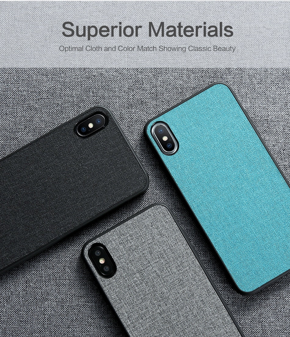 Luxury Cloth Texture Business Case for iPhone XS MAX XR XS Soft Phone Case for iPhone X 7 8 6 6s plus Luxury Fabric Back Cover for iPhone