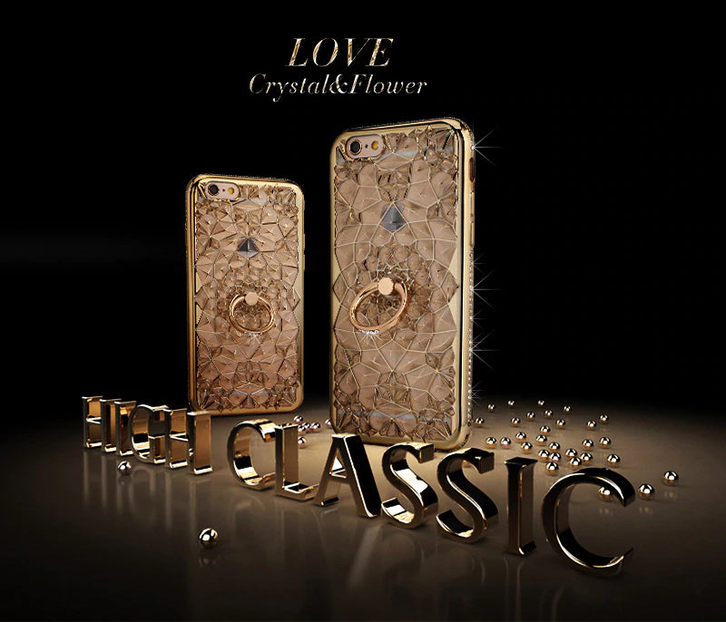 Luxury Crystal Gold Rhinestone Case For iPhone X Xs Max XR Case 3D Silicon Case With Finger Ring Stand For iPhone 5 5S SE 6 S 7 8 Plus