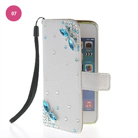 Luxury Crystal Rhinestone Cute Leather Wallet iPhone Case Flip Stand Card Holder Pouch Purse Phone Cover Case For iPhone X XS MAX XR 5S 6 7 8 PLUS