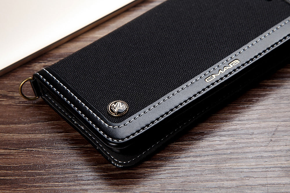 Luxury Denim And Leather Flip Wallet Phone Case For iPhone 6 S 7 8 iPhone X XS Max XR Business Card Holder Magnet Cover Case For iPhone 6s 7 8 Plus