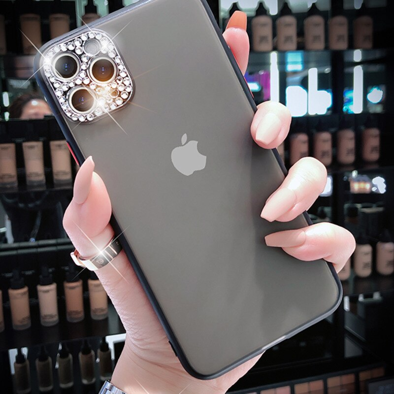 Luxury Diamond Matte Transparent Phone Case For iPhone 11 Pro X XR XS Max 7 8 Plus Soft Silicone Jeweled Camera Protection Phone Cover For iPhone SE 2020