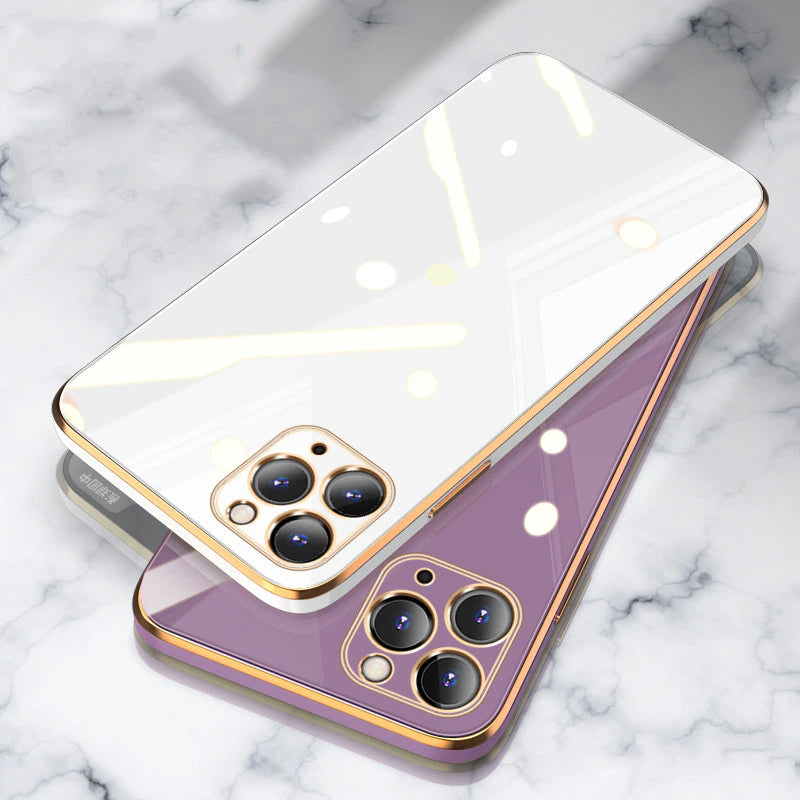 Luxury Electroplated Gold Plated Edge Silicon Case For iPhone 13 Pro 11 12 Pro Max SE 2020 Max 8 Plus XR XS X Fitted Case With Lens Protection Cover