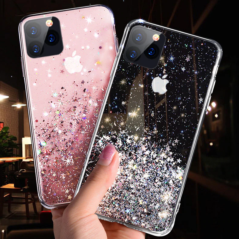 Luxury Fashion Deluxe Bling Glitter Transparent Phone Case For iPhone 7 8 6 6S 11 Pro X XS Max XR Soft Silicon Cover New Cases For iPhone