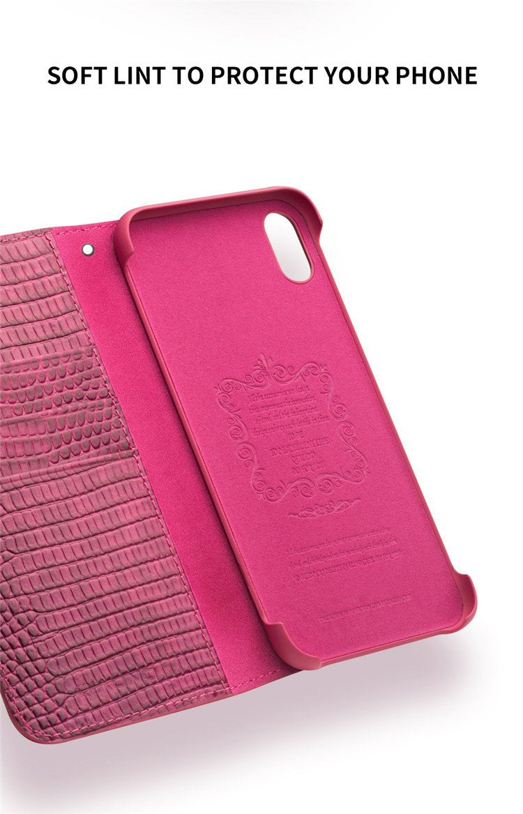 Luxury Fashion Genuine Leather Phone Case for iPhone X/XS/XR Handmade Women's Phone Pouch Card Holder Flip Cover for iPhone XS Max Crocodile Rose Red