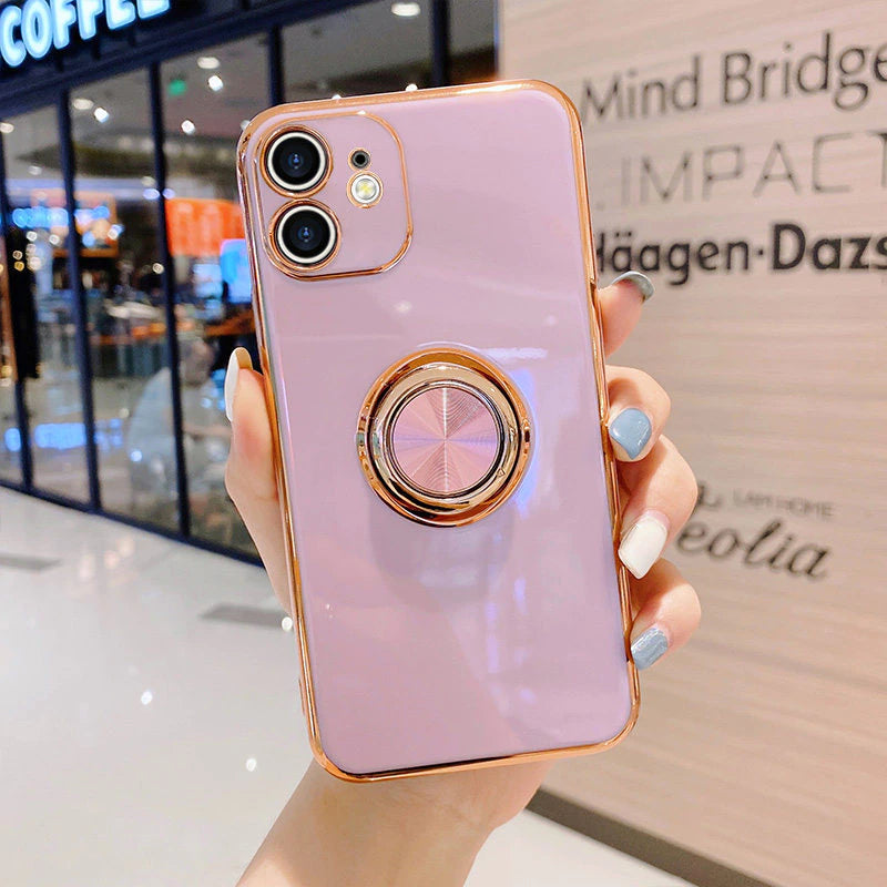 Luxury Fashion Gold Plating Metal Stand Ring Holder Case For iPhone 13 12 Pro Max XS XR SE Phone Cover For iPhone 11 7 8 Plus Soft Silicone Case