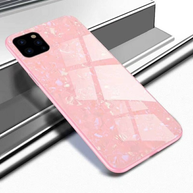 Luxury Fashion Pearl Shell Design Phone Case For iPhone 11 Pro Max iPhone 11 Pro iPhone XS Max XR X 6 6s 8 Plus Premium Shockproof Tempered Glass Cover