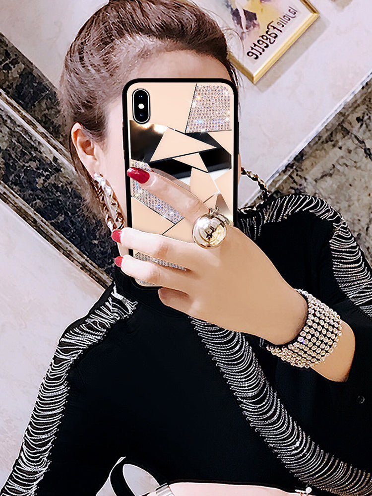 Luxury Fashion Rhinestone Sparkly Geometric Design Phone Case For iPhone X XR XS MAX Case For iPhone 7 8 6 Plus 11 Max Glamour Case