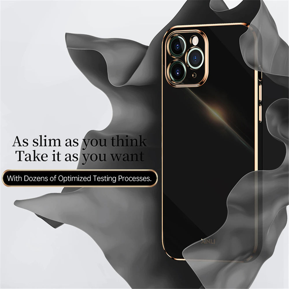 Luxury Fashion Square Edge Plating Case For iPhone 12 11 Pro Max XS Max XR X 7 8 6 Plus SE 2020 12 Mini Trendy Color Case With Camera Protection