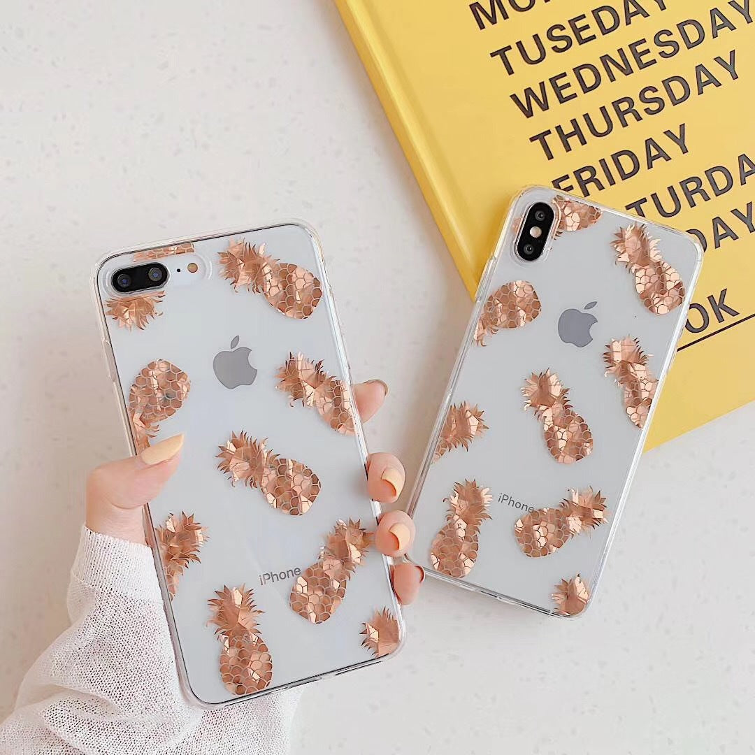 Luxury Glitter Transparent Case For iPhone 12 Mini 8 7 Plus X XS Max XR 11 Pro Max Gold Leaf  Clear Back Cover Soft Fundas Coque