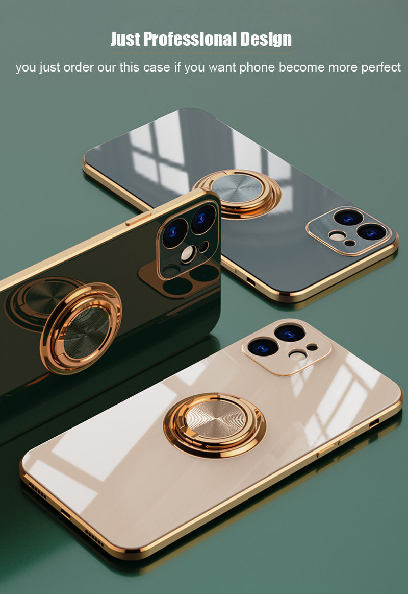Luxury Glossy Ring Case For iPhone 12 SE 2020 11 Pro Max XS XR X S 7 8 Plus Mini Latest Colors Soft Smooth Silicone Cover With Ring Holder Stand