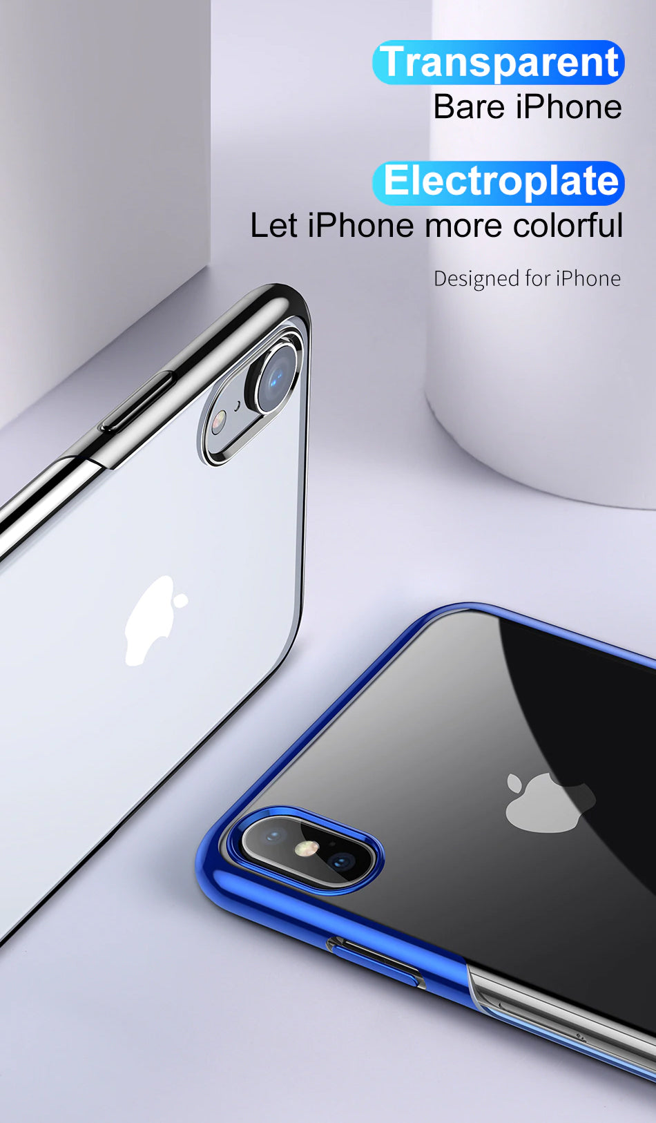 Luxury Glossy Transparent High Definition Case For iPhone Xs Xs Max XR Ultra Thin TPU Protective Case For iPhone Xs Xs Max
